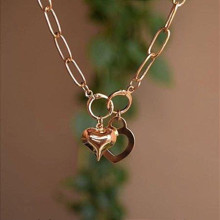 Colar corrente algemas com coração ouro semijoia