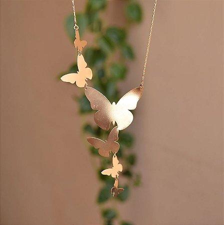 Colar borboletas ouro semijoia