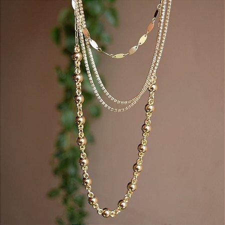 Colar camadas corrente esferas e zircônias ouro semijoia