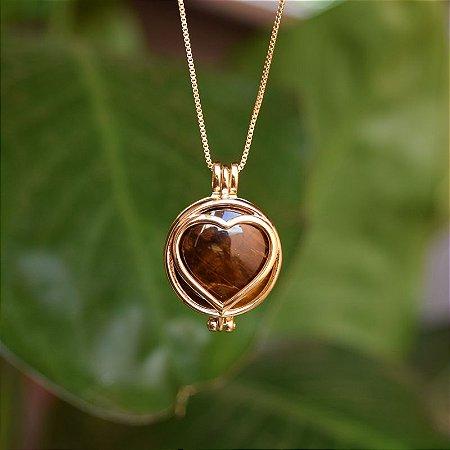 Colar cápsula coração 7 pedras naturais ouro semijoia