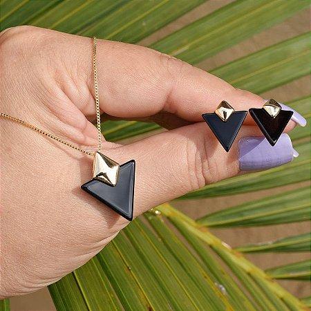 Colar e brinco geométrico pedra natural ágata preta ouro semijoia