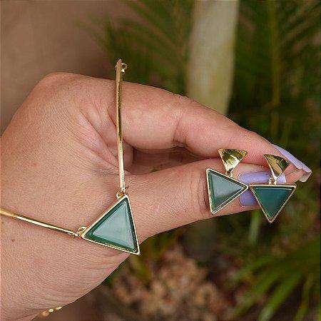 Colar e brinco geométrico pedra natural ágata verde ouro semijoia