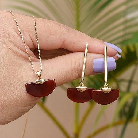 Colar e brinco pedra natural ágata vermelha ouro semijoia