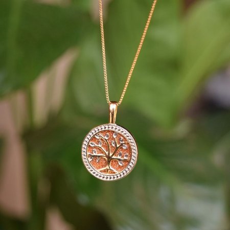 Colar árvore da vida pedra natural Pedra do Sol ouro semijoia