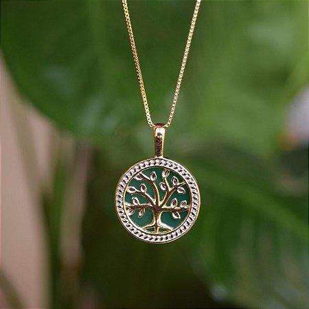 Colar árvore da vida pedra natural ágata verde ouro semijoia