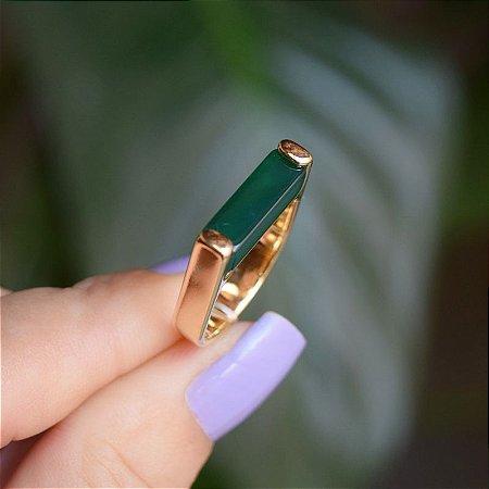 Anel reto pedra natural ágata verde ouro semijoia