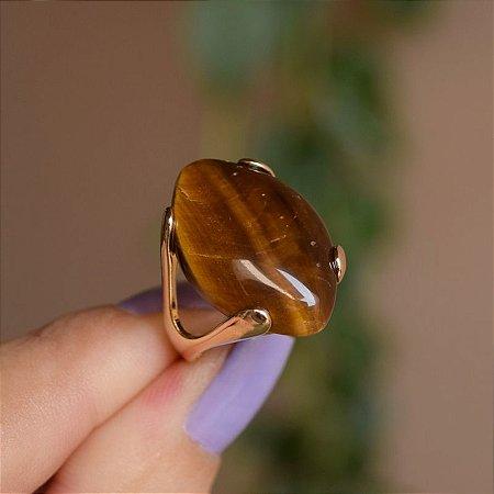 Anel pedra natural olho de tigre ouro semijoia