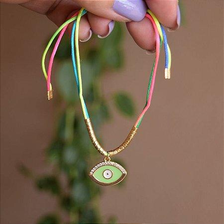Tornozeleira fios de seda com olho grego verde