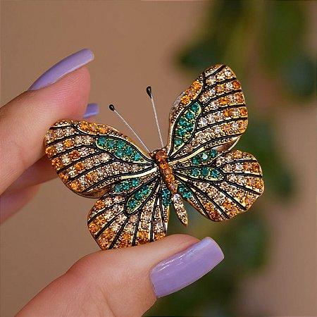 Broche magnético borboleta dourada m