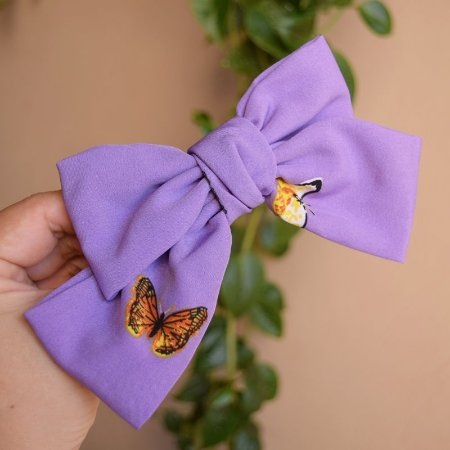 Presilha laço borboletas lilás