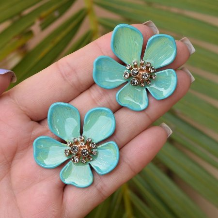 Brinco flor pintado à mão verde com cristais