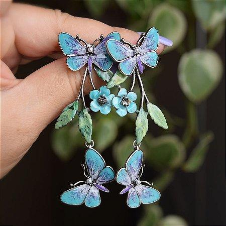 Brinco borboletas pintado à mão azul verde e lilás