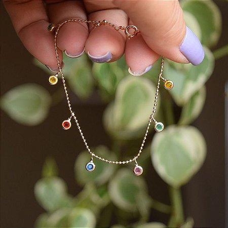 Pulseira corrente cristais coloridos ouro semijoia