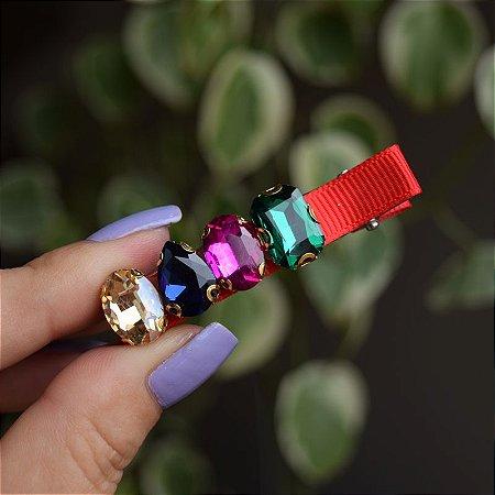 Presilha bico de pato gorgurão vermelho cristais coloridos
