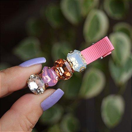 Presilha bico de pato gorgurão rosa cristais coloridos