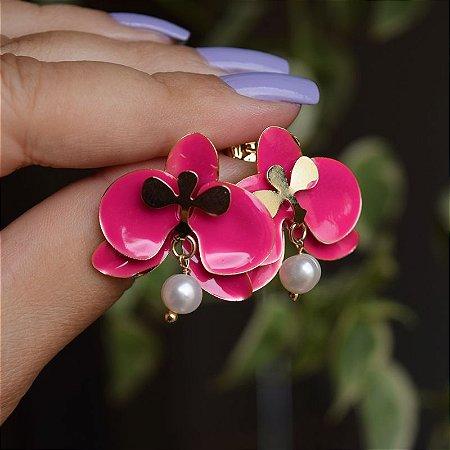 Brinco orquídea pink com pérola barroca