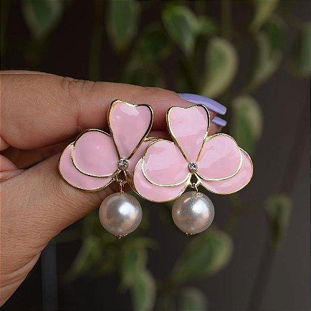 Brinco orquídea rosa claro com pérola
