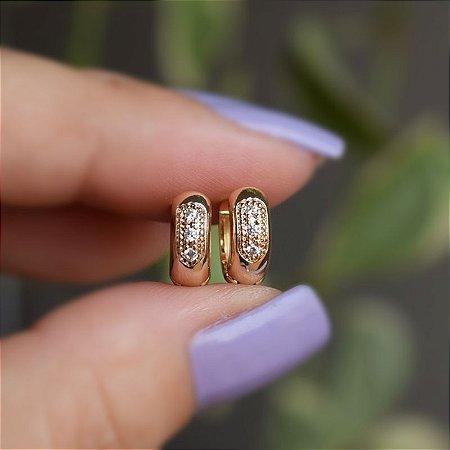 Brinco argolinha zircônia ouro semijoia 3766