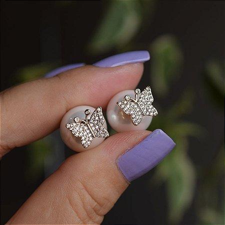 Brinco borboleta com pérola zircônia ouro semijoia 4086