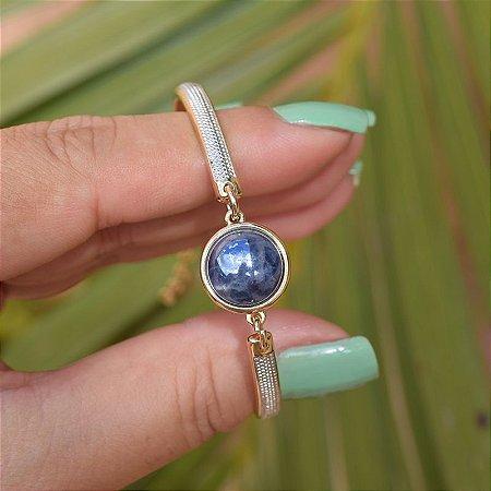 Bracelete ajustável pedra natural sodalita perolada ouro semijoia