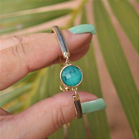 Bracelete ajustável pedra natural esmeralda ouro semijoia