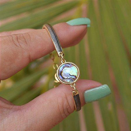 Bracelete ajustável pedra natural abalone ouro semijoia