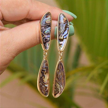 Brinco geométrico pedra natural abalone ouro semijoia