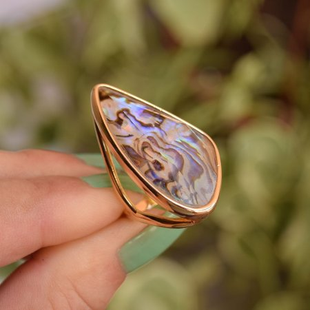 Anel geométrico pedra natural abalone ouro semijoia