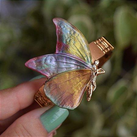 Bracelete ajustável borboleta colorida pintado à mão dourado