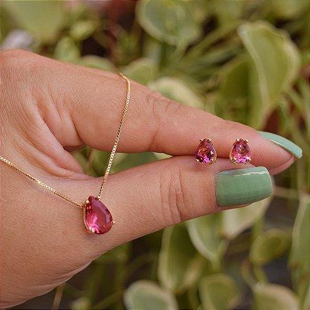 Colar e brinco gota cristal rosa magenta ouro semijoia
