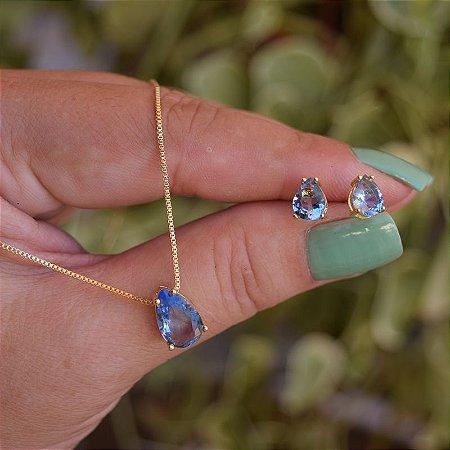 Colar e brinco gota cristal azul ouro semijoia