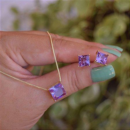Colar e brinco quadrado cristal roxo ouro semijoia