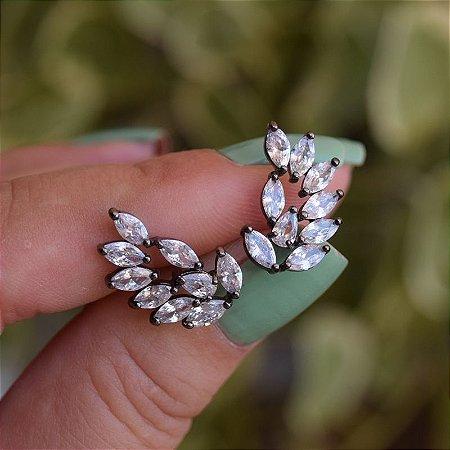 Brinco ear cuff asas zircônia ródio negro semijoia