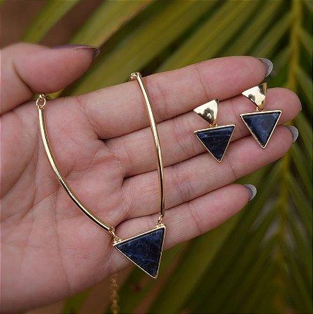 Colar e brinco geométrico pedra natural sodalita ouro semijoia