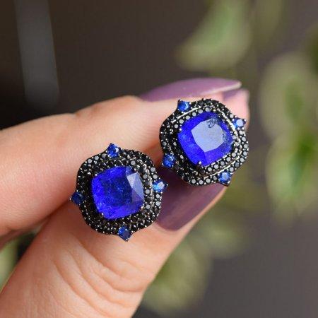Brinco quadrado cristal azul royal zircônia ródio negro semijoia