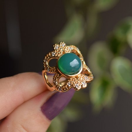 Anel pedra natural ágata verde zircônia ouro semijoia