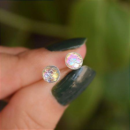Brinco escama de sereia prata 925