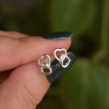 Brinco coração duplo prata 925