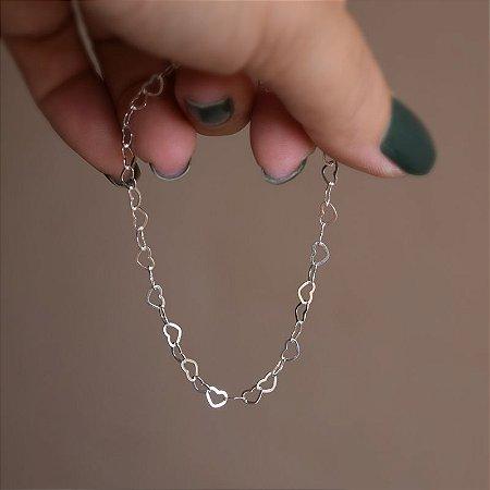 Pulseira corações prata 925
