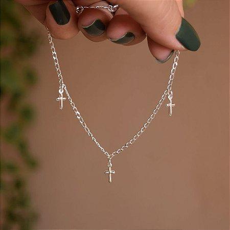 Tornozeleira corrente crucifixos prata 925