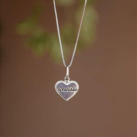 Colar coração gratidão prata 925