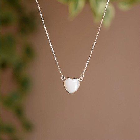 Colar coração madrepérola prata 925