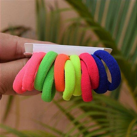 Elástico sem metal coloridos para cabelo 12 peças infantil