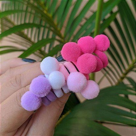 Elástico pompom mini colorido para cabelo 10 peças infantil
