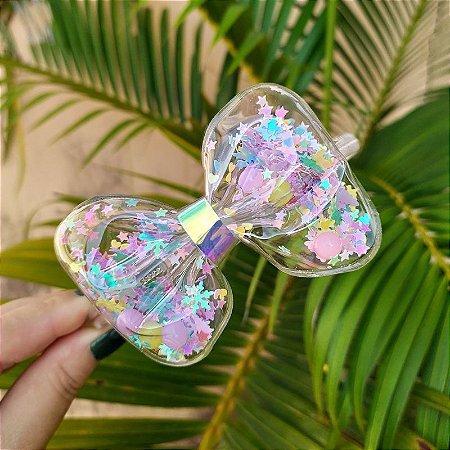 Tiara infantil laço transparente com glitters coloridos