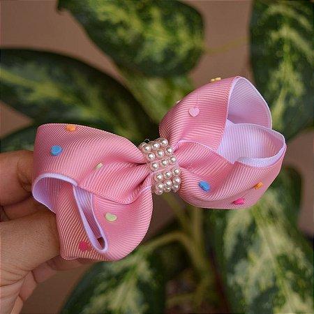 Presilha bico de pato infantil rosa antigo laço com pérolas
