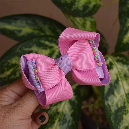 Presilha bico de pato infantil laço rosa com lilás