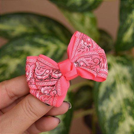 Presilha bico de pato infantil laço rosa neon