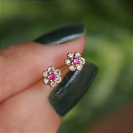 Brinco infantil florzinha zircônia rosa ouro semijoia 20K02061
