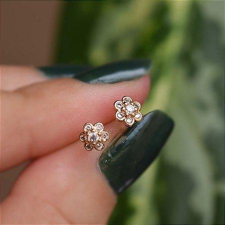 Brinco infantil florzinha zircônia ouro semijoia 20K02061